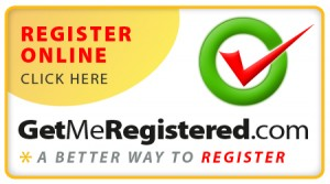 Get Me Registered Register online text button with checkmark