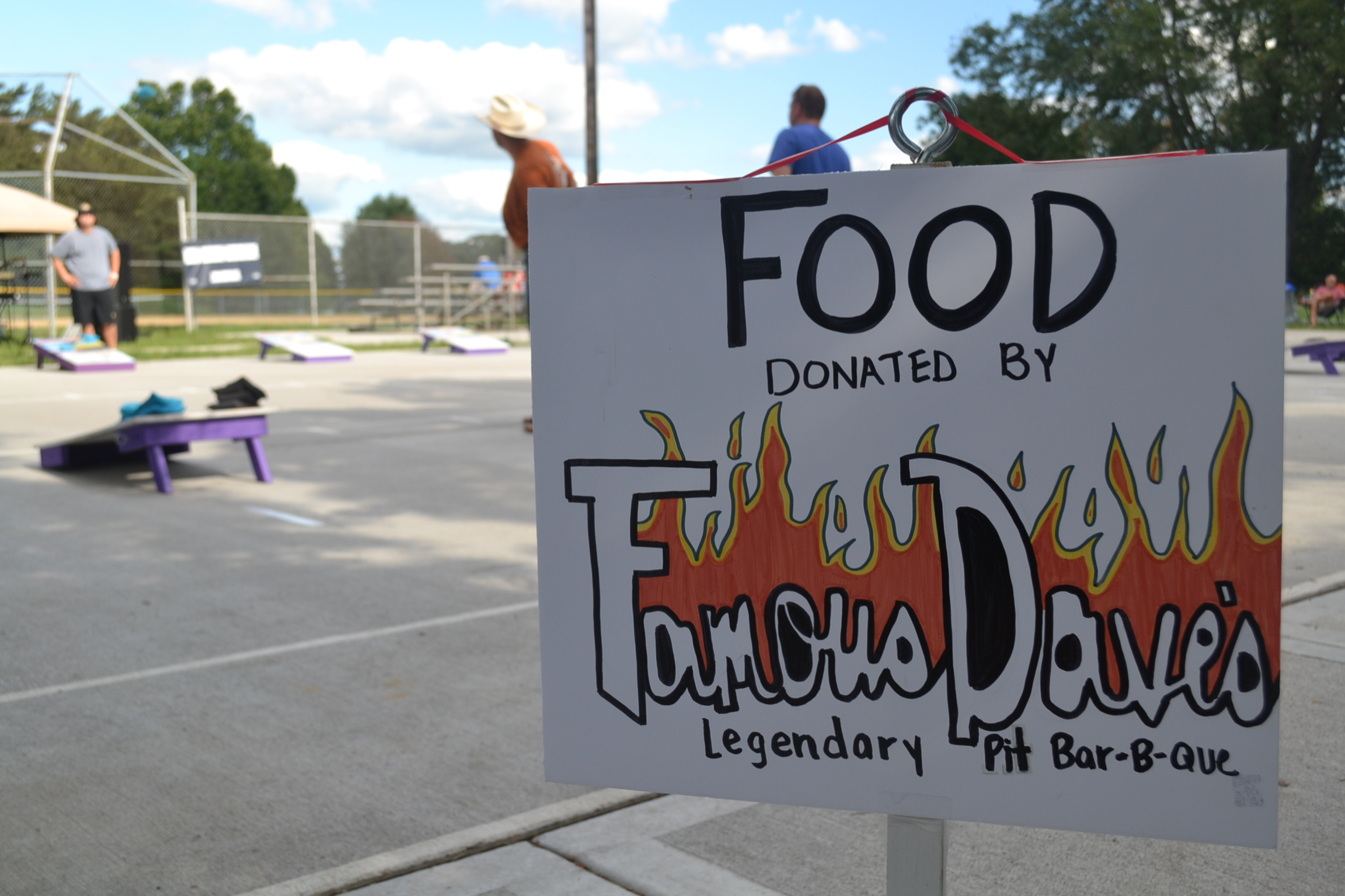 Food donated by Famous Dave's sign