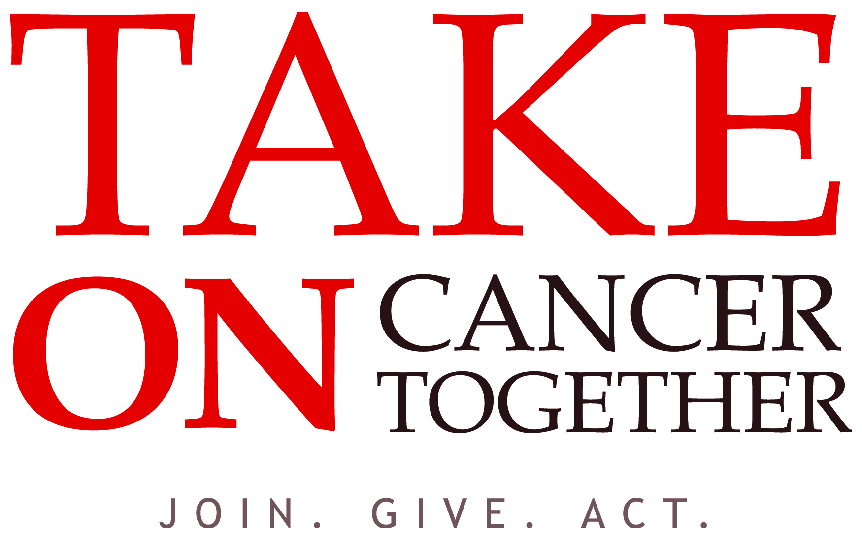 """Take on Cancer Together"" text graphic"